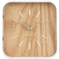 Karlsson Table Clock Squared - White Steel/Light Wood - Karlsson Gifts