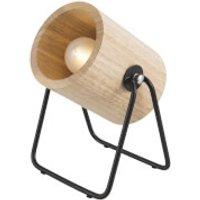 Leitmotiv Hefty Rubber Round Wood Table Lamp - Black/Natural