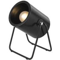 Leitmotiv Hefty Rubber Round Wood Table Lamp - Black