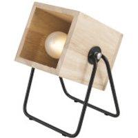 Leitmotiv Hefty Rubber Square Wood Table Lamp - Black/Natural