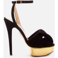 Charlotte Olympia Women's Satin and Metallic Platform Sandals - Black/Gold - EU 38/UK 5 - Black