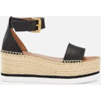 See By Chloe Women's Glyn Leather Espadrille Mid Wedge Sandals - Black - EU 39/UK 6 - Black