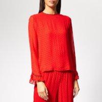Ganni-Womens-Mullin-Georgette-Top-Fiery-Red-EU-34UK-6-Red