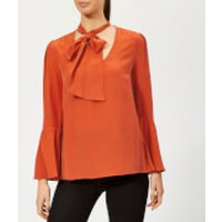 MICHAEL MICHAEL KORS Women's Bell Sleeve Silk Top - Bright Terra Cotta - M - Orange
