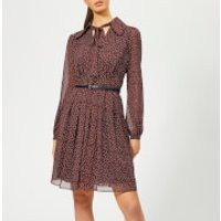 MICHAEL MICHAEL KORS Women's Vine Print Dress with Belt - True Navy/Bright Terra C - L - Multi