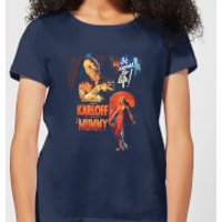 Universal Monsters The Mummy Vintage Poster Women's T-Shirt - Navy - S - Navy