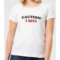 Halloween Caution! I Bite Women's T-Shirt - White - XS - White - Halloween Gifts