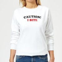 Caution! I Bite Women's Sweatshirt - White - S - White