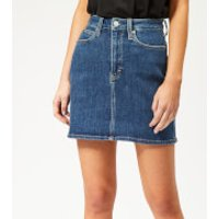 Calvin Klein Jeans Womens HR Mini Skirt - Denim - W28 - Blue