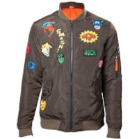Marvel Men's Patches Bomber Jacket - Khaki - S - Green