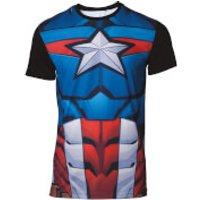 Marvel Captain America Men's Sublimated T-Shirt - Black - M - Black