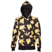 Pokémon Men's Pikachu All Over Print Zip Through Hoody - Black - XXL - Black - Pikachu Gifts