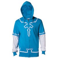 Nintendo The Legend of Zelda Men's Link's Breath of The Wild Zip Through Hoody - Blue - L - Blue