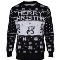 Nintendo Super Mario Fairisle Christmas Jumper - Black - L - Black - Christmas Jumper Gifts