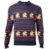 Zelda Holiday Knitted Christmas Knitted Jumper - Navy - XXL - Black
