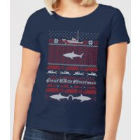 Jaws Great White Christmas Women's T-Shirt - Navy - XXL - Navy