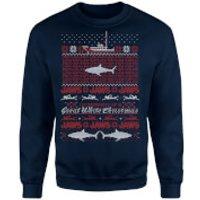 Jaws Great White Christmas Sweatshirt - Navy - M - Navy