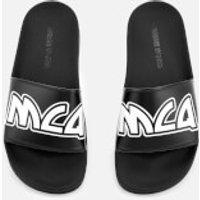 mcq alexander mcqueen women's chrissie slide sandals - black/white - uk 4 - black