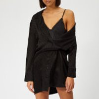 Alexander Wang Shirt Dress With Exposed Lace Cami - Black