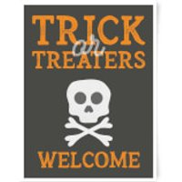 Trick or Treaters Welcome Skull Art Print - A2 - Black Frame