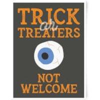 Trick or Treaters Not Welcome Eyeball Art Print - A3 - Wood Frame