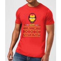 Marvel Avengers Iron Man Pixel Art Men's Christmas T-Shirt - Red - S - Red