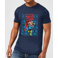 Marvel Avengers Thor Mens Christmas T-Shirt - Navy - M - Navy