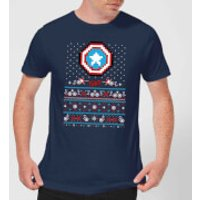 Marvel Avengers Captain America Pixel Art Men's Christmas T-Shirt - Navy - XS - Navy
