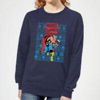 Marvel Avengers Thor Women's Christmas Sweatshirt - Navy - S - Navy