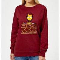 Marvel Avengers Iron Man Pixel Art Women's Christmas Sweatshirt - Burgundy - L - Burgundy
