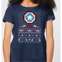 Marvel Avengers Captain America Pixel Art Women's Christmas T-Shirt - Navy - M - Navy