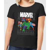 Marvel Avengers Group Women's Christmas T-Shirt - Black - XXL - Black