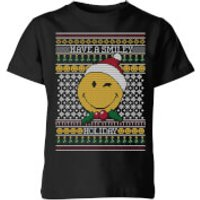 Smiley World Have A Smiley Holiday Kids Christmas T-Shirt - Black - 9-10 Years - Black