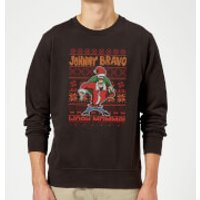 Johnny Bravo Johnny Bravo Pattern Christmas Sweatshirt - Black - 3XL - Black