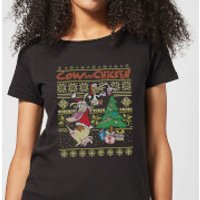 Cow and Chicken Cow And Chicken Pattern Women's Christmas T-Shirt - Black - S - Black