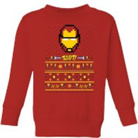 Marvel Avengers Iron Man Pixel Art Kids Christmas Sweatshirt - Red - 5-6 Years - Red