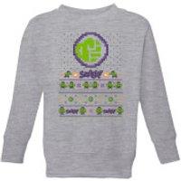 Marvel Avengers Hulk Smash! Pixel Art Kids Christmas Sweatshirt - Grey - 7-8 Years - Grey