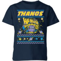 Thanos Christmas Knit Kids Christmas T-Shirt - Navy - 3-4 Years - Navy