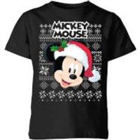 Disney Classic Mickey Mouse Kids Christmas T-Shirt - Black - 9-10 Years - Black