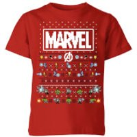 Marvel Avengers Pixel Art Kids Christmas T-Shirt - Red - 5-6 Years - Red