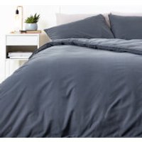 in homeware Washed Cotton Duvet Set - Dark Grey - Single - Grey