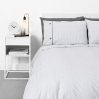 in homeware Pinstripe with Button Cuff Duvet Set - Grey - Single - Grey