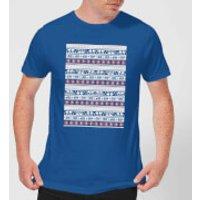 Star Wars AT-AT Pattern Men's Christmas T-Shirt - Royal Blue - L - Royal Blue