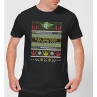 Star Wars May The force Be with You Pattern Men's Christmas T-Shirt - Black - 3XL - Black