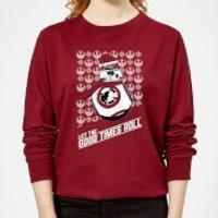 Star Wars Let The Good Times Roll Women's Christmas Sweatshirt - Burgundy - XS - Burgundy