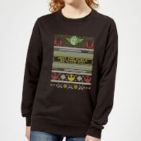 Star Wars May The force Be with You Pattern Women's Christmas Sweatshirt - Black - L - Black