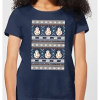 Star Wars BB-8 Pattern Women's Christmas T-Shirt - Navy - XXL - Navy