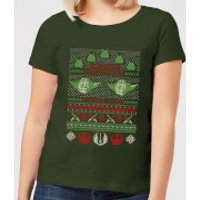 Star Wars Merry Christmas I Wish You Knit Women's Christmas T-Shirt - Forest Green - L - Forest Gree