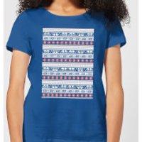 Star Wars AT-AT Pattern Women's Christmas T-Shirt - Royal Blue - XXL - Royal Blue
