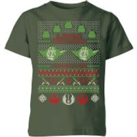 Star Wars Merry Christmas I Wish You Knit Kids Christmas T-Shirt - Forest Green - 9-10 Years - Fores
